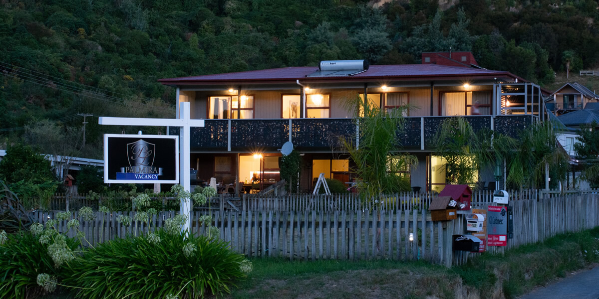 Evening View Of Palmira Lodge Accommodation In Waikawa Marlborough Sounds NZ