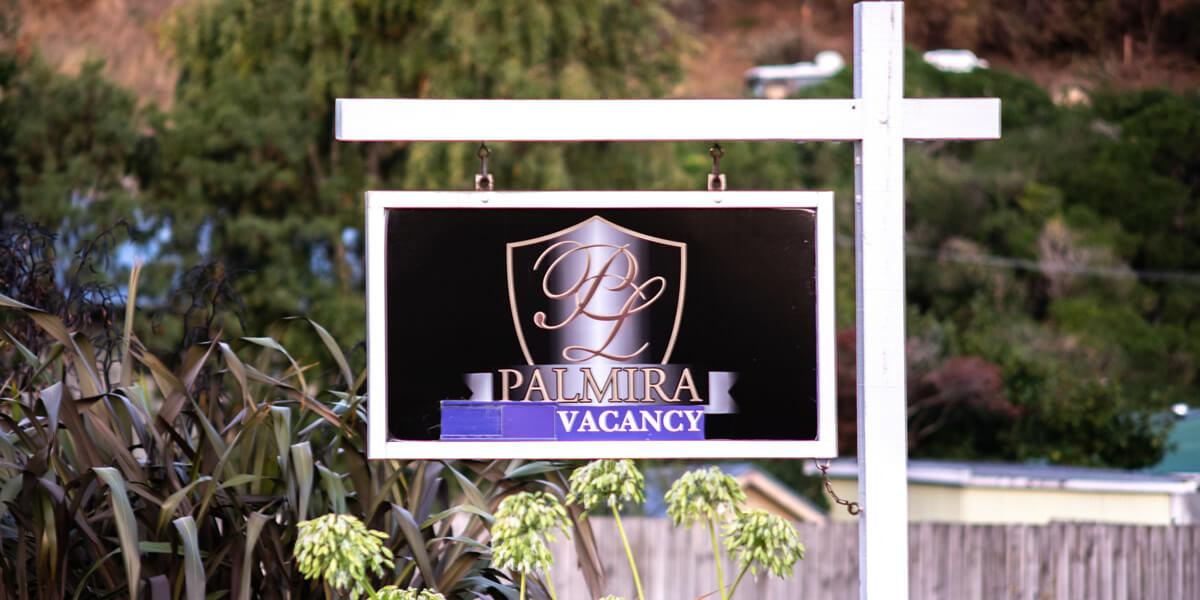 Outdoor Sign Of Palmira Lodge Accommodation In Waikawa Marlborough Sounds NZ